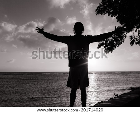 Man with hands raised into sunset - stock photo