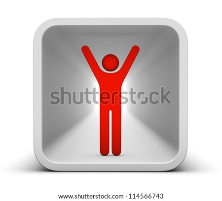 man with hands upwards icon for interface
