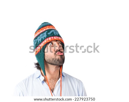 Man with hat over white background
