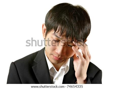man with head ache - stock photo