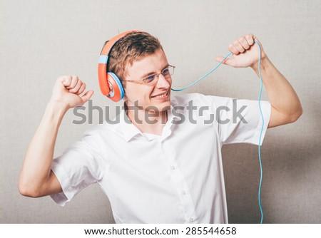 man with headphones - stock photo