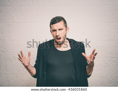 Man with headphones - stock photo
