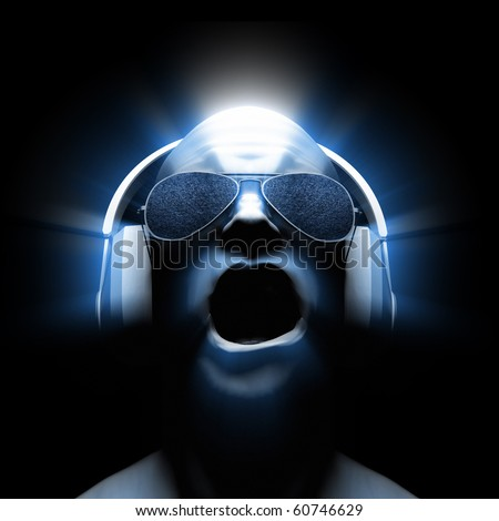Man with headphones (and sunglasses with static in the lenses) with glow and light streaks. - stock photo