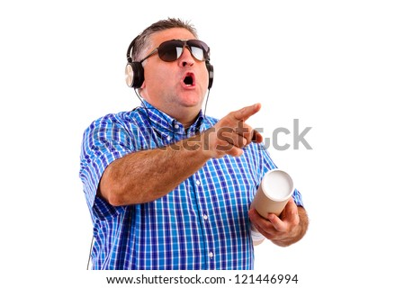 Man  with headphones listening and pointing something, isolated on white background