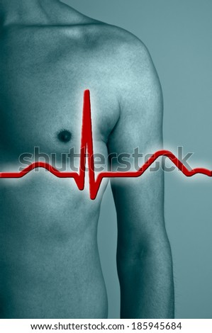 Man with heart rate - stock photo
