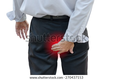 Man with hemorrhoids