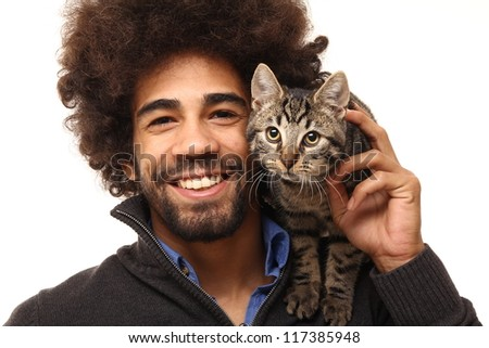 Man with his cat - stock photo