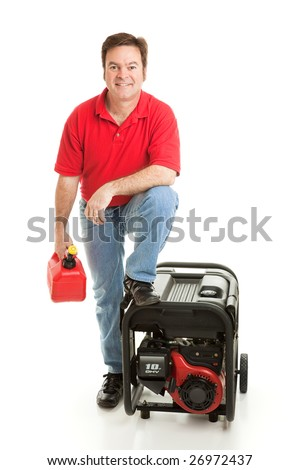 Man with his gas can and portable electric generator, ready for disaster.  Isolated on white. - stock photo