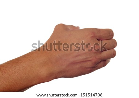 man with his hand open as holding something on a white background - stock photo