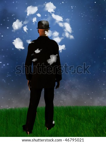 Man with his head in the clouds - stock photo