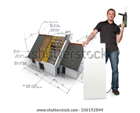Man with holding a power drill with a house with blueprints on the background - stock photo