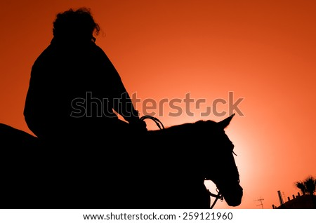 man with horse at sunset - stock photo