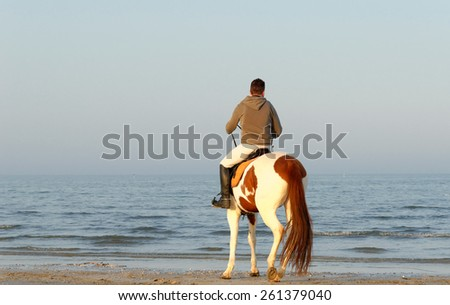 man with horse looking the sea - stock photo