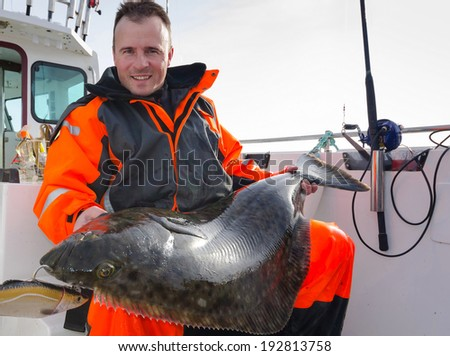 Man with huge halibut fishing trophy - stock photo