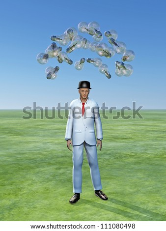 Man with ideas above him in the form of classic light bulbs - stock photo