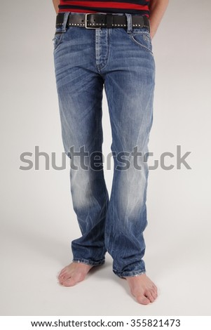 man with jeans, man wears jeans, barefood man