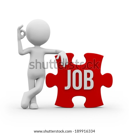 Man with job sign on red puzzle