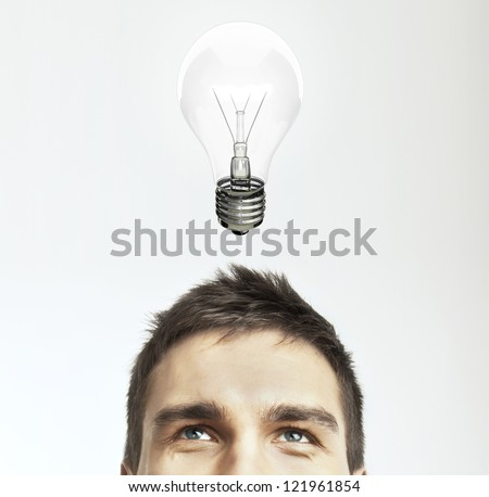 man with lamp, idea concept - stock photo