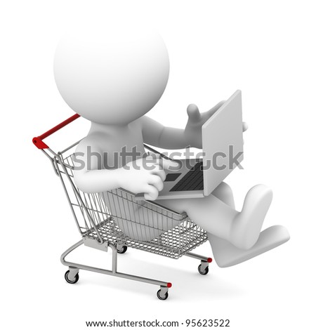 Man with laptop inside shopping cart. Online shopping concept. Isolated on white