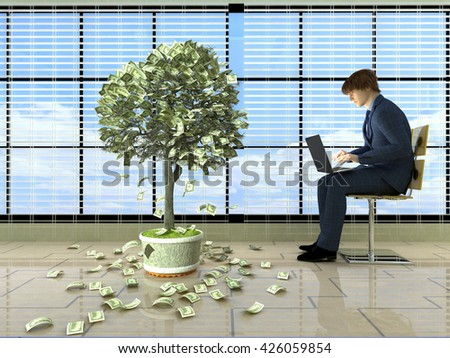 Man with laptop near the money tree..3D rendering - stock photo