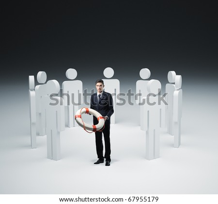 man with life bouy rescue and 3d people - stock photo