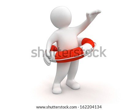 Man with Lifebuoy (clipping path included)
