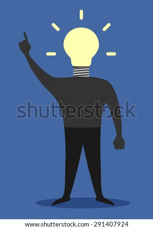 Man with light bulb instead of head in moment of insight - stock photo