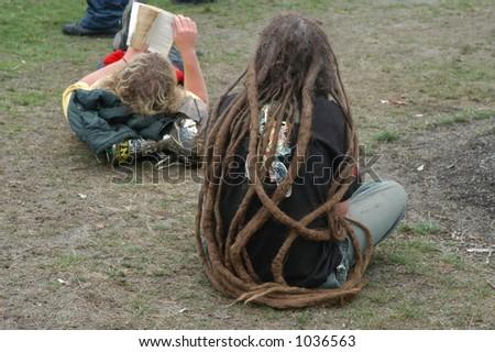 Man with Long Dreadlocks - stock photo