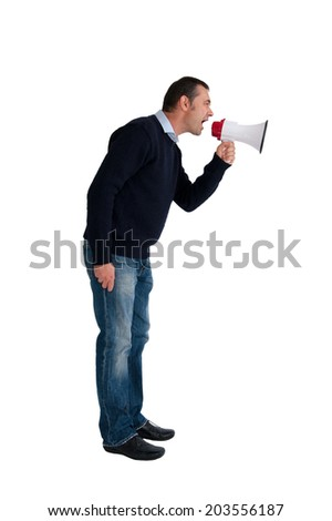 man with loudhailer or megaphone isolated on white background