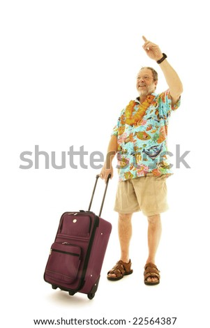 Man with luggage calling a taxi