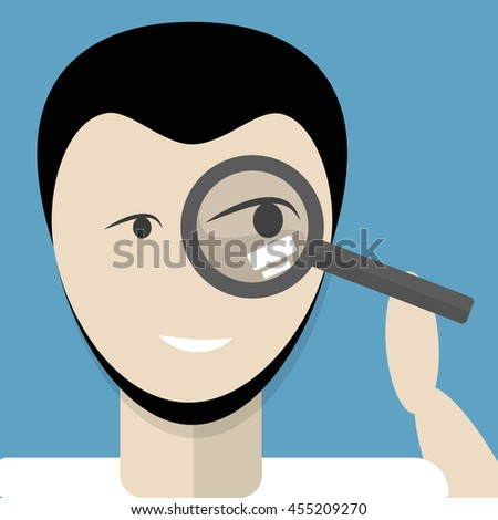 Man with magnifying glass on blue background..