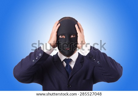 Man with mask isolated on white - stock photo