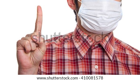 man with mask on face - stock photo