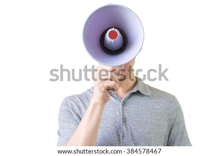 Man with megaphone in hand on the white background with clipping path