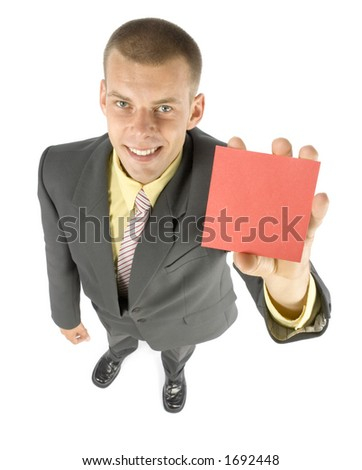 man with message board (focus on card) - stock photo