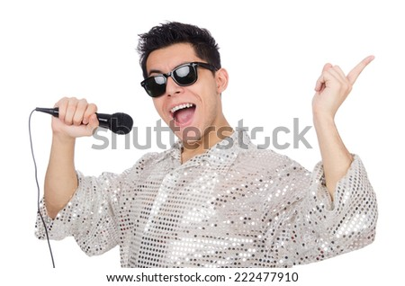 Man with mic isolated on white - stock photo