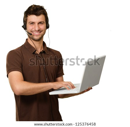 Man With Microphone Holding Laptop On White Background - stock photo