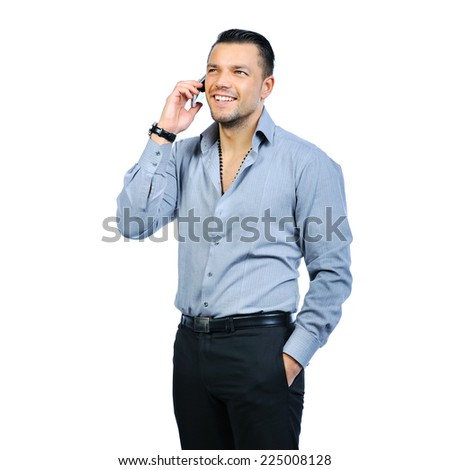 Man with mobile phone isolated on white. Copy space  - stock photo