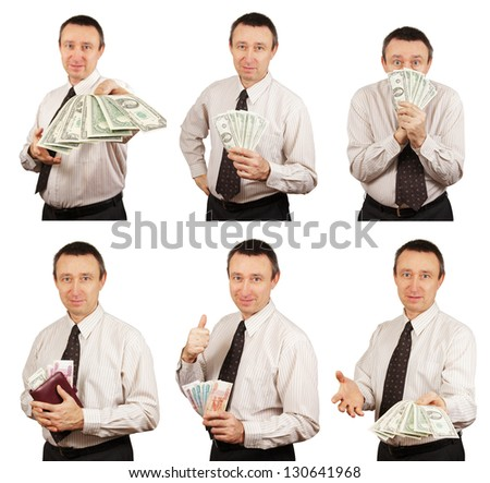 Man With Money In Diverse Situations.Collage. Hi-res images inside my portfolio - stock photo