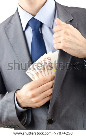Man with money isolated on the white