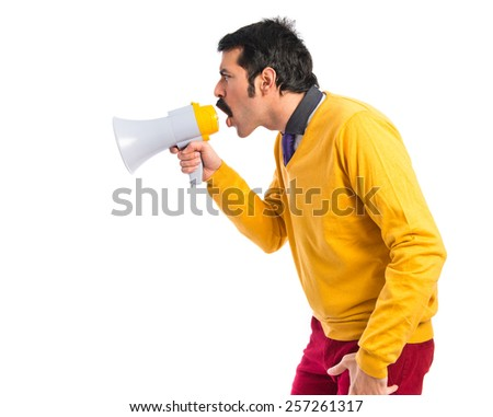 Man with moustache shouting by megaphone
