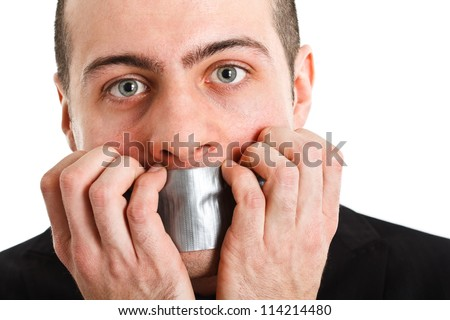 Man with mouth covered by tape