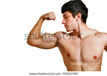 Man with muscular biceps isolated on white background