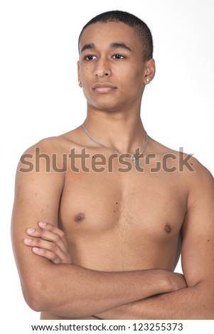 Man with no shirt