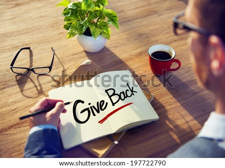 Man with Note Pad and Give Concept - stock photo