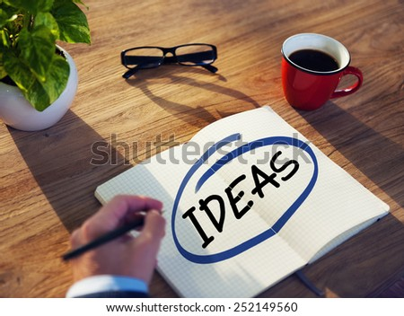 Man with Note Pad and Ideas Concept - stock photo