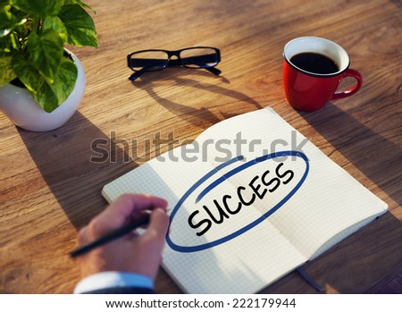 Man with Note Pad and Success Concept - stock photo
