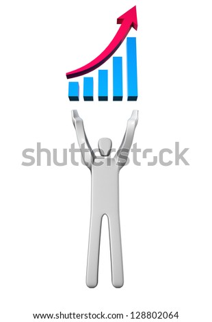 Man with optimistic bar graph over his head Concept of achievement. - stock photo