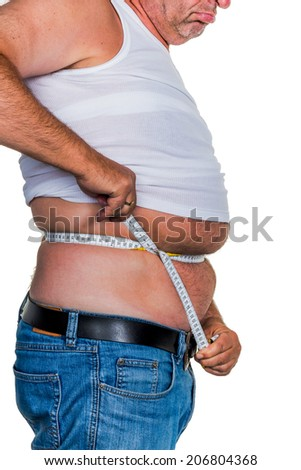 man with overweight. symbolic photo for beer belly, unsuccessful diets and poor diet. - stock photo