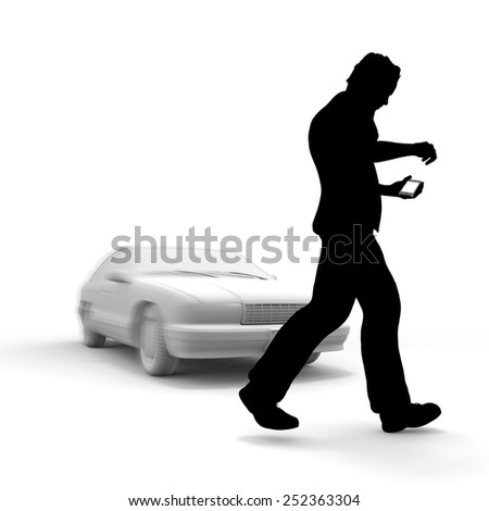 man with phone in front of car